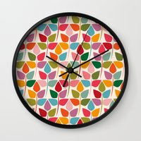 plants Wall Clocks featuring Plants by Helene Michau