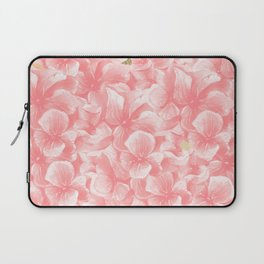Hand painted coral white faux gold watercolor floral Laptop Sleeve