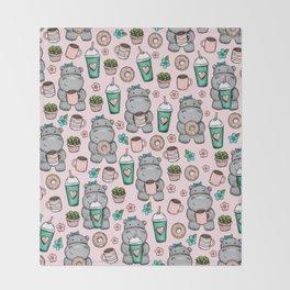 Cute Little Hippo, Hippopotamus, Donuts and Coffee, Pink Print For Girls, Little Girls, Tween Girls Throw Blanket