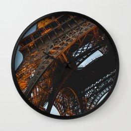 Eiffel Tower Lit Up   Paris France City Night Urban Photography Wall Clock