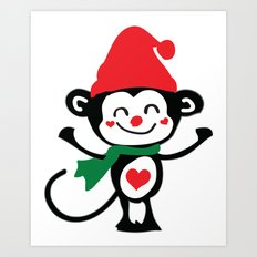 Little Monkey Santa Claus Art Print