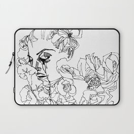 When the Petals Start Pouring Black & White Laptop Sleeve
