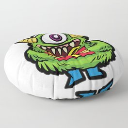 CUTE CHRISTMAS MONSTER WITH PRESENT Floor Pillow
