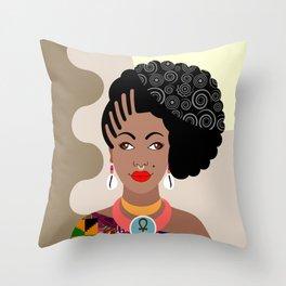 African Queen IV Throw Pillow