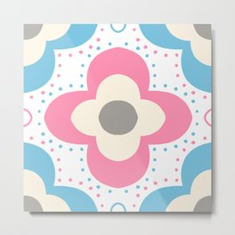 Decorative background in Nordic style in pink and light blue colors Metal Print