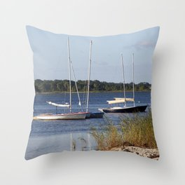Sailboats moored in front of a natural beach.  Throw Pillow