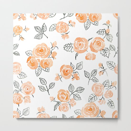 Peach watercolor roses pattern Metal Print
