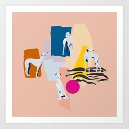 Greyhound colorful abstract pattern Art Print