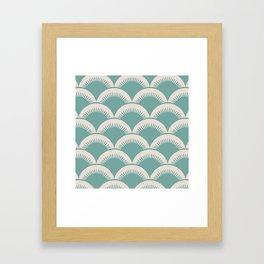 Japanese Fan Pattern Foam Green and Beige Framed Art Print