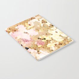 Flower Mosaic Millennial Pink and Golden Yellow Abstract Art | Honey Comb | Geometric Notebook