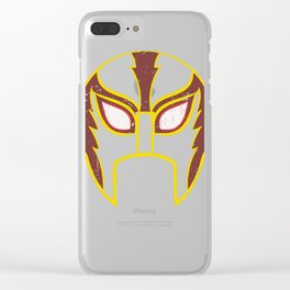 Mexican Lucha Retro Wrestling Mask Print Clear iPhone Case