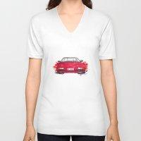 ferrari V-neck T-shirts featuring Ferrari Mondial by Claeys Jelle Automotive Artwork