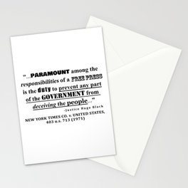 Free Press Quote, NEW YORK TIMES CO. v. UNITED STATES, 403 u.s. 713 (1971) Stationery Cards