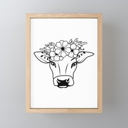 Cow With Floral Crown, Farm Cow Framed Mini Art Print