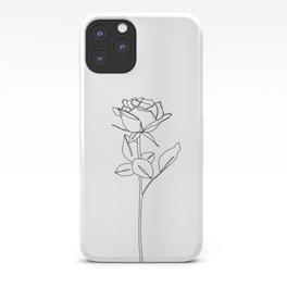 Botanical floral illustration line drawing - Rose Bud iPhone Case