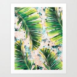 Palm leaf on marble 01 Art Print
