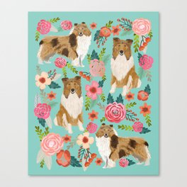Collie rough collie pet portrait florals cute dog art pet friendly dog portraits for dog lovers Canvas Print