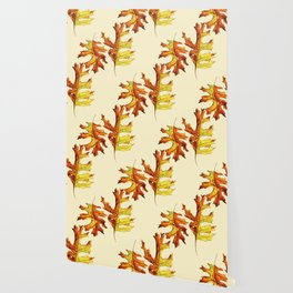 Ink And Watercolor Painted Dancing Autumn Leaves Wallpaper