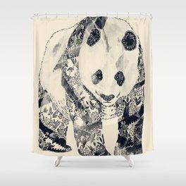 Tattooed Panda {cream} Shower Curtain