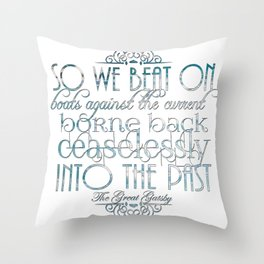 Boats Against the Current Throw Pillow