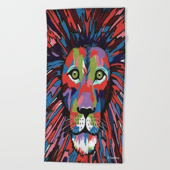 Flamboyant Lion Beach Towel
