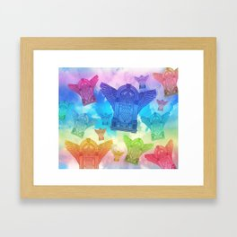 Vintage Flying Jukebox Rainbow Framed Art Print