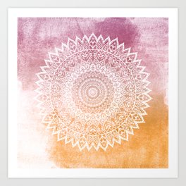 SUMMER LEAVES MANDALA Art Print