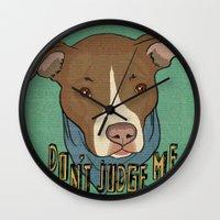 pit bull Wall Clocks featuring Pit bull Pride by Sara Robish Andrews