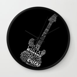 Typographic guitar Wall Clock