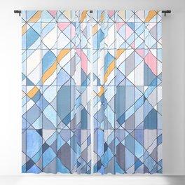Triangle Pattern no.17 Light Blues Blackout Curtain