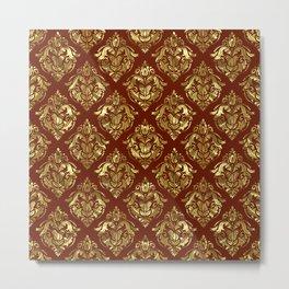 Gold and brown vintage damask pattern Metal Print