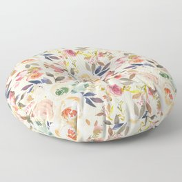 Hand painted ivory pink brown watercolor country floral Floor Pillow