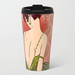 Art Deco Lady with Damask - BIANCA: Antique Autumn Travel Mug