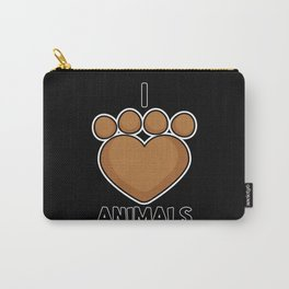 I love Animals Paw Graphic for Cat and Animal claw Carry-All Pouch