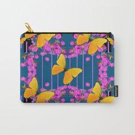 Modern Art Pink Flowers Yellow Butterflies Teal Color Garden Carry-All Pouch