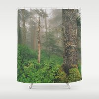 forrest Shower Curtains featuring Foggy Forrest by Donovan Bennett Designs