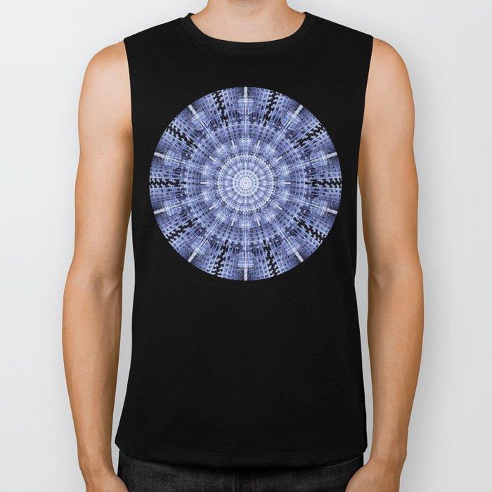 Grunge blue snowflake in a circle Biker Tank