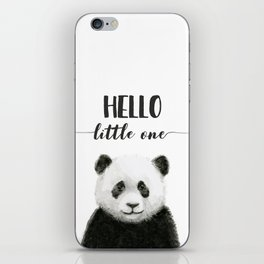 Panda Art Print Baby Animals Hello Little One Nursery Decor iPhone Skin