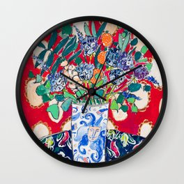 Wildflowers in a Lion Vase on Red Floral Still Life Painting After Matisse Wall Clock