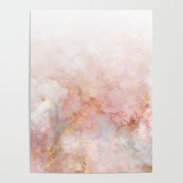 Beautiful Pink and Gold Ombre marble under snow Poster