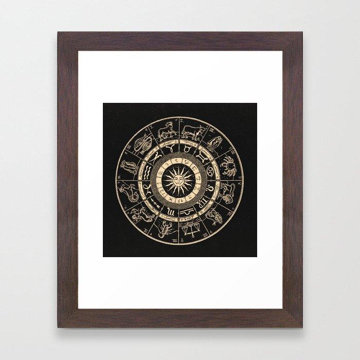Vintage Zodiac & Astrology Chart   Charcoal & Gold Framed Art Print