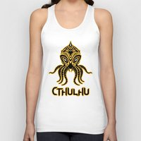return Tank Tops featuring Cthulhu return by Enrique Valles