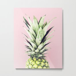 Pineapple, Pink, Pastel, Art, Scandinavian, Wall art Print Metal Print