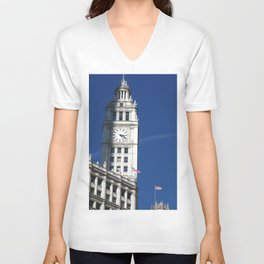 Chicago Clock Tower, American Flags Unisex V-Neck