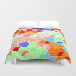 Pop Floral Cube Pattern 2  #fashion #pattern #lifestyle Duvet Cover