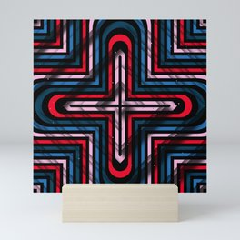 Rhombuses with cross (blue-red-black) Mini Art Print