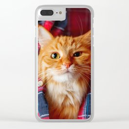 Cute and brash ginger cat in tartan shirt Clear iPhone Case