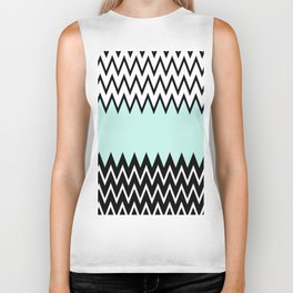 Modern black white teal stylish chevron pattern  Biker Tank