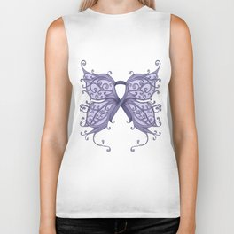 Periwinkle Cancer Ribbon with Butterfly Wings Biker Tank