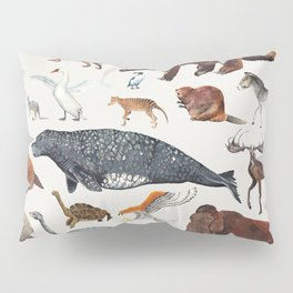 Animal chart of the Holocene extinction Pillow Sham